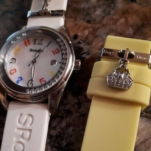 S Rosato watch by Bags Time white and yellow bands
